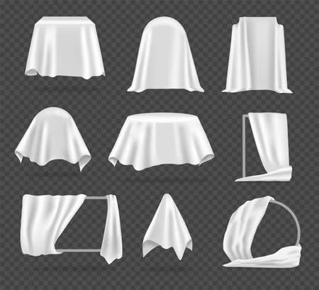 White textile cover. Realistic tablecloth, protective coating for furniture. Fabric stretched over mirror, wardrobe or chair. Storage of interior items. Vector templates set on transparent background