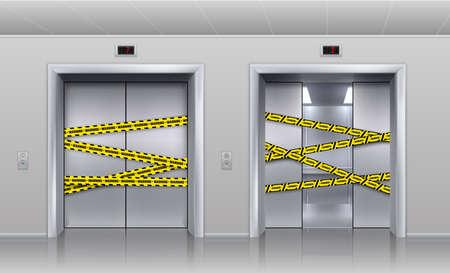 Broken elevators closed for repair or maintenance. Realistic half opened metallic cabin doors of passenger and cargo lift. Doorway barred with black and yellow warning tape. Vector indoor illustration