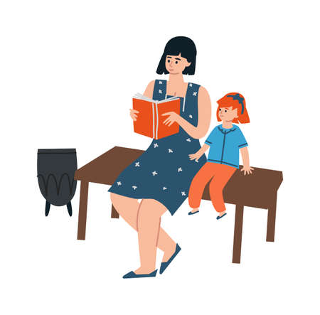 Mother and daughter reading book. Cartoon people sitting on bench in park. Adults teach children. Fairy Tale or developing literature. Rest outdoor and leisure pastime. Vector motherhood illustration Vettoriali