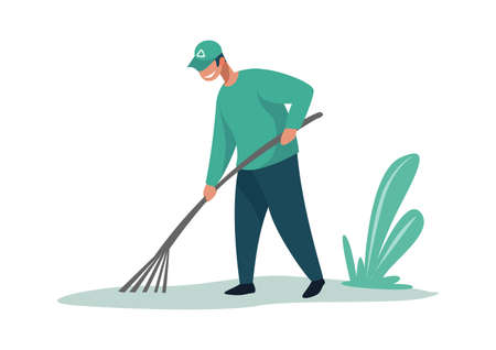 Man cleaning garbage. Cartoon male with rake. Smile activist in uniform working outdoors. Debris removal. Volunteer collecting rubbish in field. Pollution or environmental problem, vector illustration