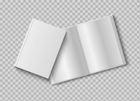 Two realistic books with blank hard cover. 3d mock up open and closed diary on transparent background, presentation and advertising empty paper white sheets template vector isolated illustration