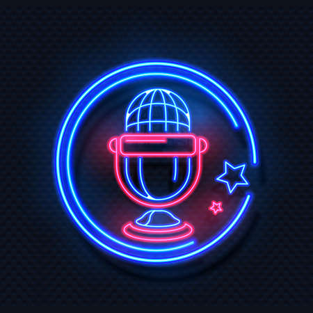 Neon microphone. Realistic light round frame and voice recorder symbol with stars. Radio or audio studio template. Fluorescent sign for karaoke musical cafe and nightclub. Vector illuminated signboard Vettoriali
