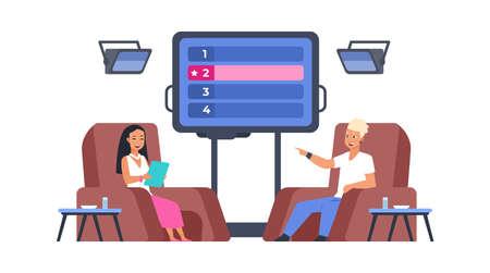 Television show. Recording intellectual TV program in studio. Presenter asking quiz questions, man gives answers. People sitting in armchairs, multiple choice screen. Vector erudition game concept