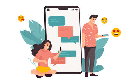 Phone chat. Cartoon young man and woman exchange messages in mobile application. Cute people holding electronic devices and emoji with hearts. Online messenger, vector social relationship concept