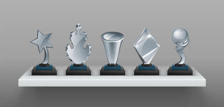 Realistic bookshelf with trophies. 3D transparent glass awards on black stands. Blank winner prizes, creative and scientific competition cups. Collection of sport champion reward. Vector victory set