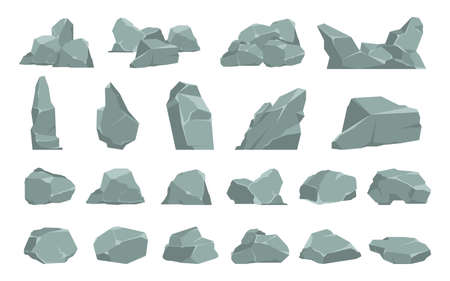 Cartoon stones. Heavy gray boulder. Rough solid natural material. Single or compositions of cobbles. Isolated debris or garden decoration. Geological research. Vector pieces of mountains flat set Illustration