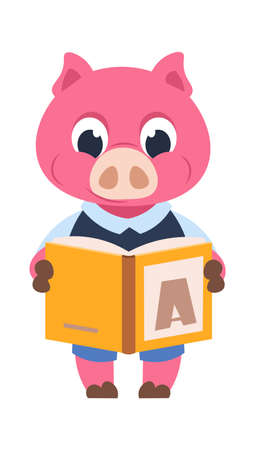 Funny pig character. Cartoon domestic animal reading book. Cute piglet in uniform holding textbook. Education and getting knowledge at school. Isolated advertising of bookstore, vector illustration