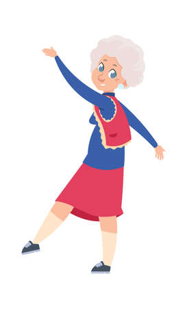 Old dancing woman. Cartoon dancer. Cute older female waving hands and legs, retired woman moving to music. Recreation in club or study in choreography school. Vector active lifestyle illustration