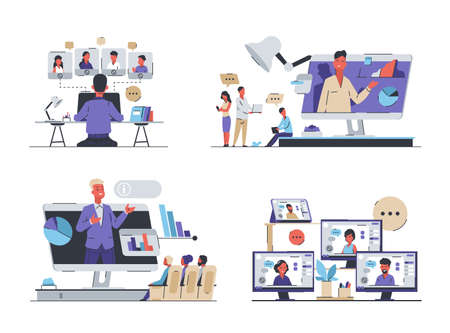 Online conference. Business meeting and video call with friends. Freelance or work in office. Human remote communication, smart technology to education and connection. Vector web chatting isolated set