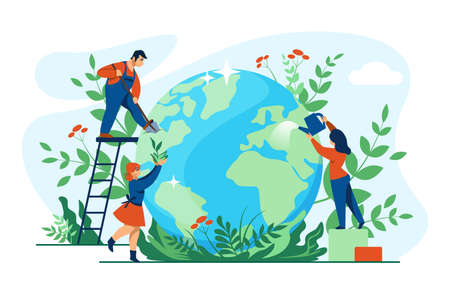 Planet ecology concept. Cartoon people taking care of globe and environment. Men and women planting and watering flowers or cleaning Earth. Protection and conservation of nature, vector pure world Vettoriali