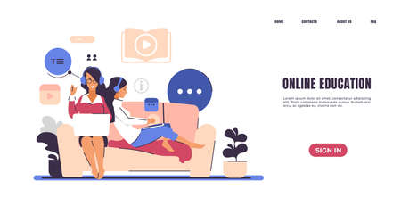 Online teaching landing page. Web courses and self-education concept. Website interface for distance studying at school or university with buttons, header and text. Vector homepage template design
