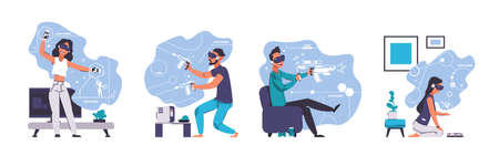 Virtual reality. Cartoon young men and women wearing smart goggles and playing in games with augmented VR. Cyber entertainment technologies isolated concept. Vector digital visual simulation set Vettoriali