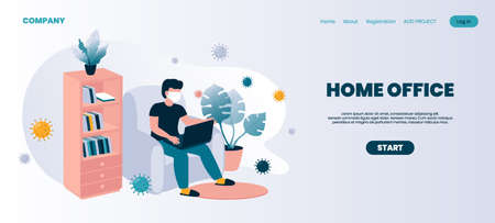 Home office landing page. Coronavirus isolation concept and remote jobs or freelance occupation. Cartoon man working with laptop. Wearing individual protective mask. Vector website interface template