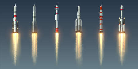 Rocket launch. Realistic spaceship with takeoff smoke track and fire burst. Spacecraft with steam jet trace. Collection of going up space vehicles. Shuttles of various designs, vector isolated set