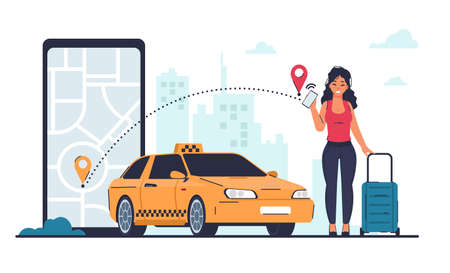 Taxi order. Vehicle rent and car sharing, cab service concept. Cartoon woman calls taxicab through mobile application. City landscape, map at phone screen. Yellow auto and vector female with luggage