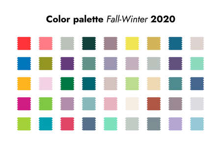 Trendy colors. Fall-winter fashion palette forecast, colorful and neutral schemes. Analytics of style trends for cold season of 2020. Modern predictions and recommendations. Vector swatch isolated set