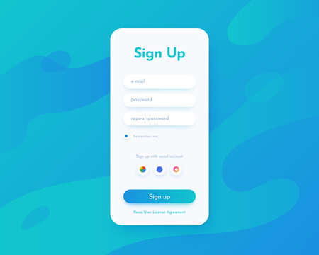 Sign up screen. Mobile application UI for registration with login and password fields and buttons. Website interface for account access. Smartphone web page template. Vector internet profile mockup Vettoriali