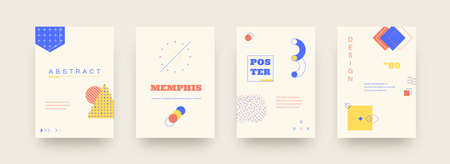 Memphis posters. Abstract geometric shapes. Vintage minimalist circles, triangles or squares with drops and lines. Graphic flyers design for invitations, web and social media posts. Vector banner set