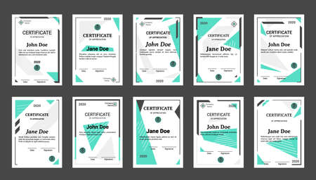 Diploma. Realistic graduation certificate and professional achievement document with decorative borders. Appreciation letter design with place for name, date and signature, corporate , vector set