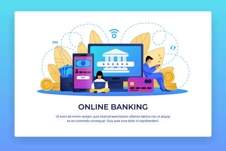 Online banking. Electronic finance and digital economy innovations. Computer or mobile application for payments and financial transactions, credit or debit cards service. Vector internet app concept