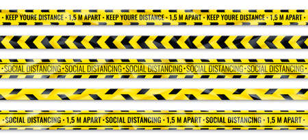 Distance warning tape. Social distancing yellow and black seamless ribbon. Floor markers for shops and public areas. Attention stickers for restrictions place of accident. Vector pandemic safety set Vettoriali