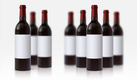 Wine bottle mockup. Realistic background with blurred 3D glass vessels with red beverage and blank white labels. Alcoholic product template with copy space. Grape drinks poster