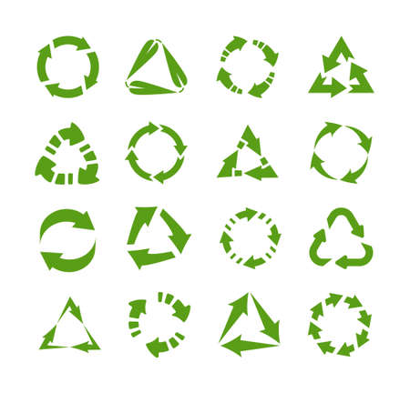 Reuse icons. Circles and triangles with arrows. Green emblems for label, symbol for packaging. Processing or recycling and reuse of raw materials. Garbage sorting tags templates. Vector eco marks set