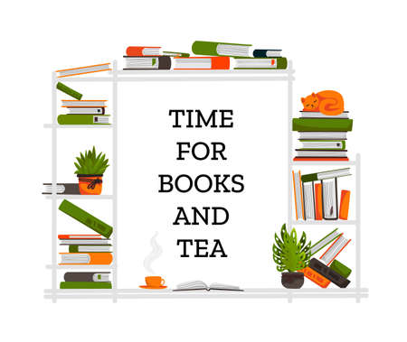 Bookshelf. Cartoon piles of books and sleeping cat, room flowers and cup with hot beverage. Cozy home, library or hipster cafe interior. Literature store advertising. Vector modern poster with text