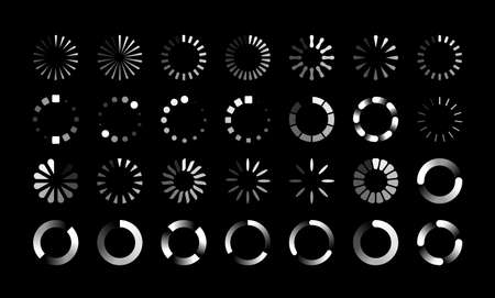 Round progress bars. Countdown circle icon, round upload, reboot and loading symbols. Collection of buffering and data transfer process signs. White web marks on black background, vector download set Vettoriali
