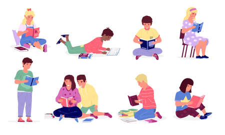 Kids read books. Children studying at school or home, cartoon happy boys and girls learning lying or sitting on chair and floor. Leisure pastime and education. Young people with literature, vector set Vettoriali