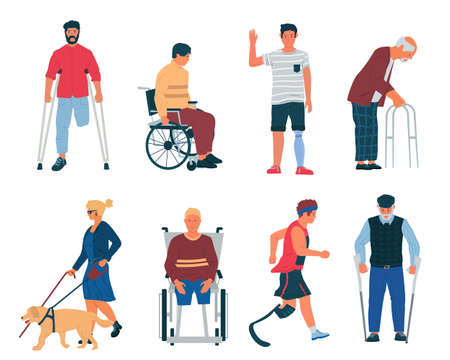 Disabled persons. Cartoon people with disabilities, in wheelchair, with cane, plaster and crutches. Men and women with limb injuries, blindness or old. Physical therapy and medical care, vector set