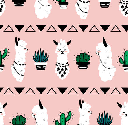Cartoon lama pattern. Seamless texture of cute alpaca head with ornamental elements and cactus, funny abstract llama Scandinavian style, kids vector wallpaper fabric, design textile with pastel colors Vettoriali