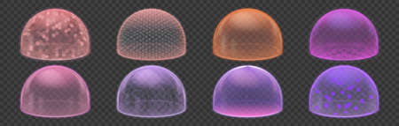 Force shield. Protective bubble and round ball safety shields, security defense and energy round barrier collection. Realistic colorful protection environment vector 3d isolated transparent object set