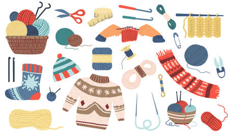Knitting. Wool yarn, hook or needles for handicraft. Basket with skeins of threads. Handmade garment. Isolated knitted sweater or socks, scarf and hat. Hobby and leisure pastime. Vector needlework set