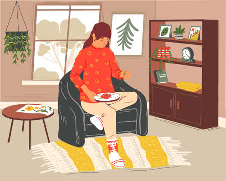 Woman sewing. Cartoon girl with embroidery, hoop and needle. Cute young female sitting in armchair. Room interior. Handmade textile decoration. Hobby or leisure pastime. Vector needlework illustration Vettoriali