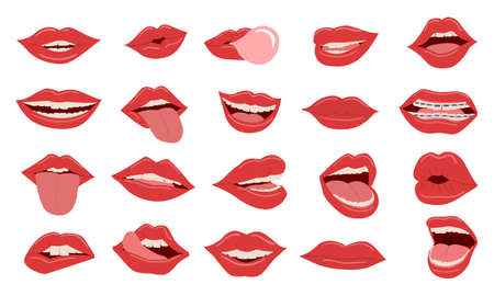 Lips. Realistic woman close smile and open mouth with teeth and tongue out. Advertising for beauty cosmetic and makeup, dental clinic and textile print template. Vector facial expression isolated set