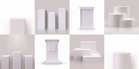White pedestal. Realistic pillar stand or empty 3D block podium stage for gallery. Blank rectangle shape and cylinder. Collection geometric tribunes, platforms for museum exhibit. Vector template set