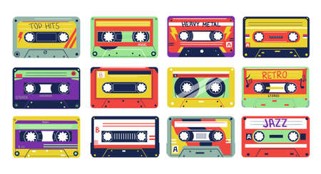 Cassette. Cartoon retro song tapes. Colorful vintage multimedia device. 80s or 90s old analog records. Pop, rock and jazz music. Hipster decoration template, old-school textile print. Vector sound set