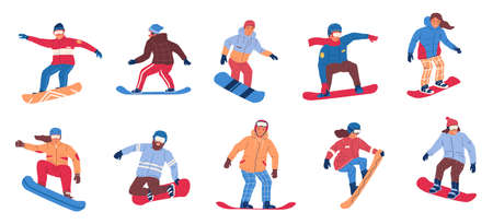 Snowboarding. Winter extreme activity. Cartoon people riding on snowboards. Men and women wearing worm sport clothes, helmets and goggles. Mountain resort or sportswear shop advertising, vector set