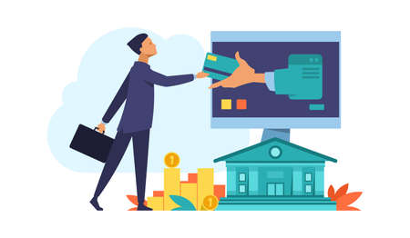 Online bank. Finance computer or mobile app concept. Debit and credit cards, payments or financial transactions. Digital accounting for business. E-commerce web service. Vector internet platform Vettoriali