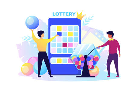 Lottery. Cartoon people raffling prizes. Men twist box and get out winning balls. Casino or television show. Promotion and gambling, lucky chance and jackpot. Vector play out presents or money concept