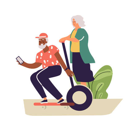 Older people lead active lifestyle. Old woman on senior man on skateboard. Isolated happy retired people. Leisure pastime in park or moving around city. Vector elderly couple illustration