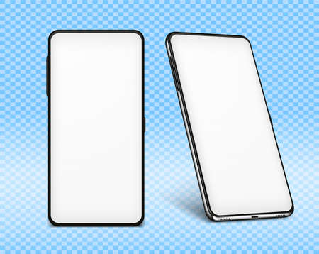 Phone mock up white. Two cellphone design 3d mockups with white screens. Vector illustration smartphone isolated on transparent background