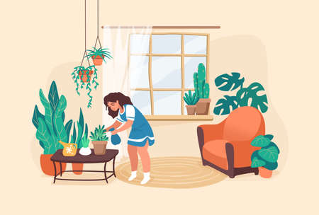 Woman watering flowers. Cartoon young girl taking care of plants. Decorate room with houseplants, home interior. Ficuses pots on windowsill, floor and on table. Vetores
