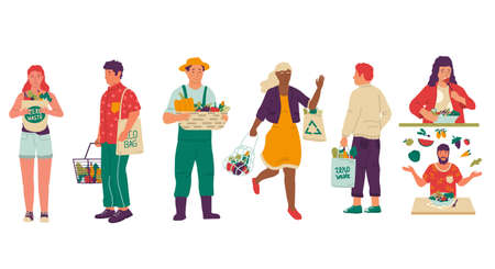 Vegan lifestyle. Cartoon people with organic food and natural products. Isolated men and women carrying eco bags with purchases, growing ecology vegetables and fruits.