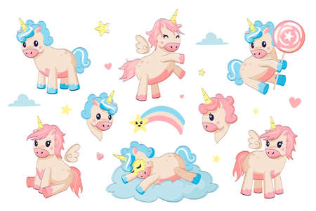Cartoon unicorns. Cute little animals. Funny ponies and Pegasus with horns and wings. Fairy tale characters in sky, play and sleep on clouds and rainbow.