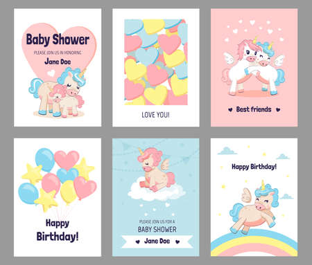 Greeting cards with unicorns. Cartoon ponies with horns and rainbows or balloons. Funny postcards with wish phrases and invitations. Collection of birthday celebration banners. Vector holiday set