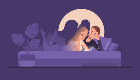 Couple in bed with phones. Cartoon people reading social media network or chatting at night. Watching film and video clip from smartphone screen. Leisure pastime, vector mobile addiction illustration