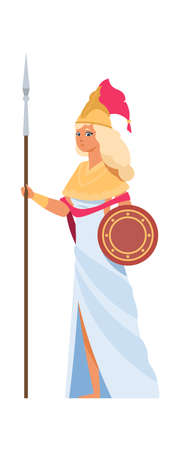 Ancient Greek goddess Hera. Cartoon divine woman in white dress and helmet with spear and shield. Member of pantheon, isolated character of gorgeous legends. Vector mythology flat illustration