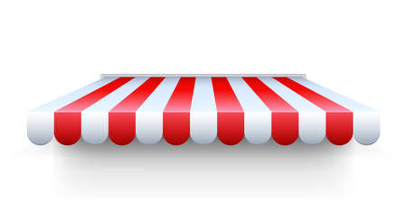 Stripe awning. Realistic red and white cafe tent. Isolated shop roof. Canopy for protection from sun and rain or snow. Building exterior, decorative facade element template. Vector showcase overhang Ilustração